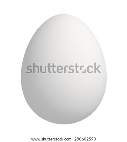 Close up of white egg, isolated on white background with clipping path - stock photo