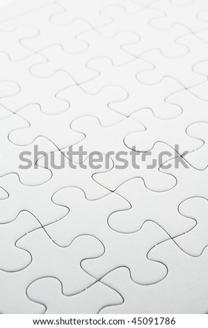 Close up of white jigsaw puzzle background