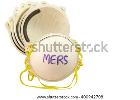 Close up of white mask stack  and word H1N1 in mask on white  background,touch-up in prevention of MERS - stock photo