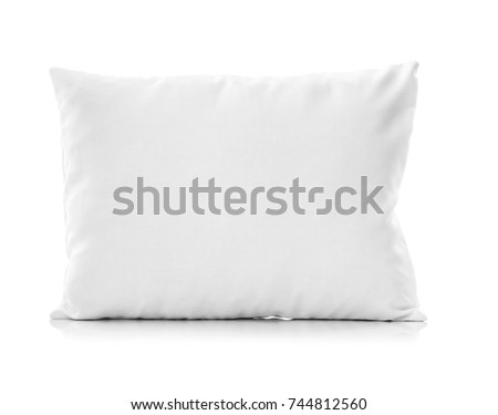 Close-up of white pillow isolated on a white background. Bed dress, pillow for sleeping.