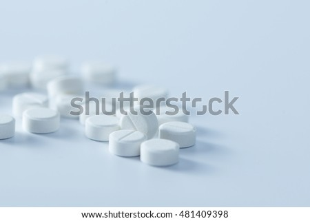 Close up of white tablets or paracetamol