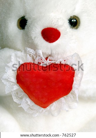 Close-up of white teddy bear with blank heart - stock photo