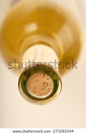 Close-up of white whine bottle - stock photo
