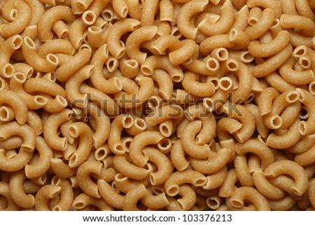 Close Up Of Whole Grain Macaroni Elbow Pasta