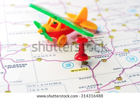 Close Up Of Wichita Kansas Usa Map With Red Pin And Airplane Toy Travel Concept