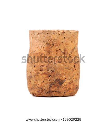 Close up of wine cork. Isolated on a white background. Place for text. - stock photo