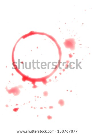 Close up of  wine stain on white background with clipping path