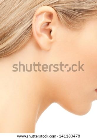close up of woman beautiful naked ear - stock photo