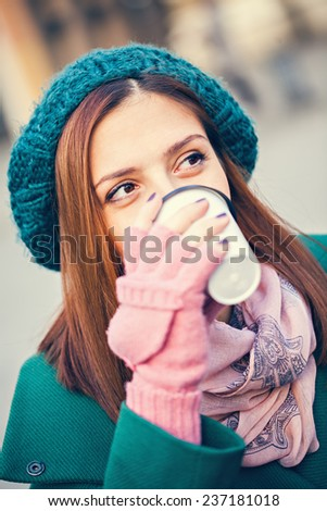 Close Up Of Woman Drinking Hot Beverage - stock photo