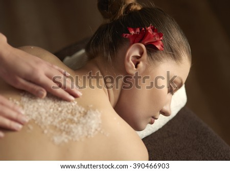 Close up of woman during spa treatment
