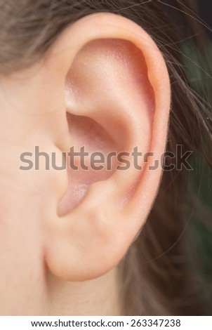 close up of woman ear - stock photo