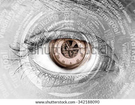 Close up of woman eye with time concept - stock photo