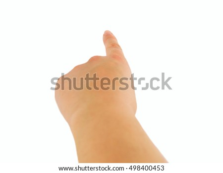 Close-up of woman Hand pointing over white background