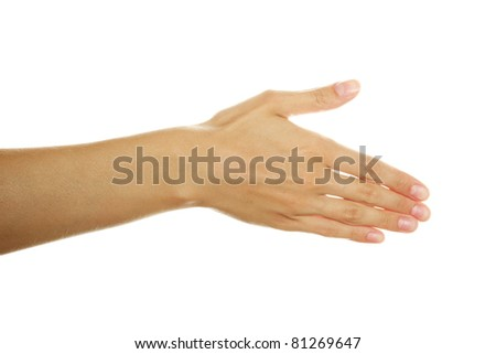 Close up of woman hand stretched forward. Isolated in a matter of background