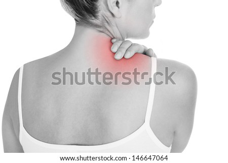 Close up of woman having back pain isolated on white background - stock photo