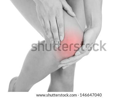 Close up of woman leg injury isolated on white background - stock photo