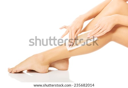 Close up of woman legs waxed. - stock photo