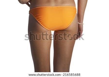Close up of woman�s bikini-clad buttocks - stock photo