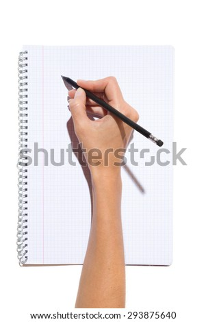 Close up of woman's hand holding black pencil with rubber and writing on a notepad. Studio shot on white background with shadow.
