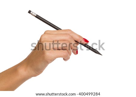 Close up of woman's hand with red nails holding black pencil. Studio shot isolated on white. - stock photo