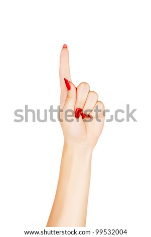 close-up of woman's hand with red nails pointing with index finger on white background
