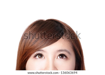 close up of woman smile face and she look to up forward empty copy space, isolated on white background, asian beauty - stock photo