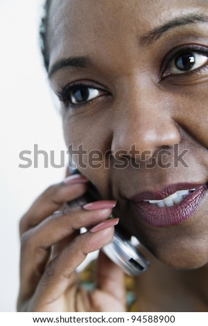 Close up of woman talking on cell phone