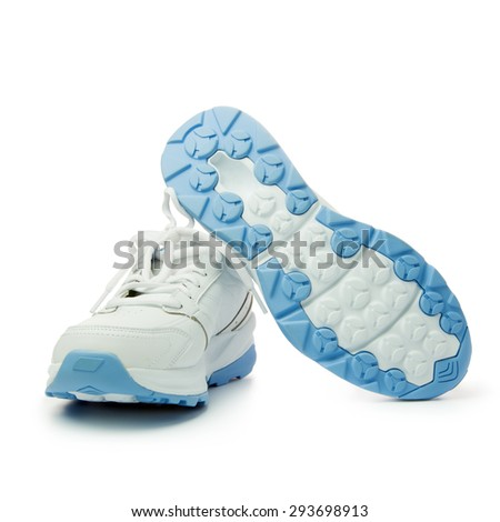 Close up of women's sport shoes on white background