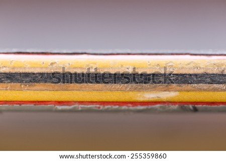 Close up of wood layers skateboard horizontal - stock photo
