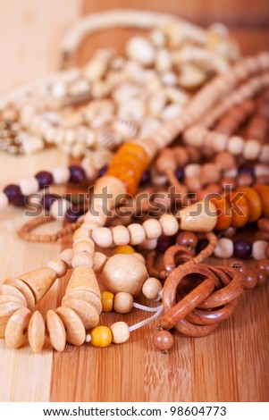 Close up of wooden beads background. Shallow DOF