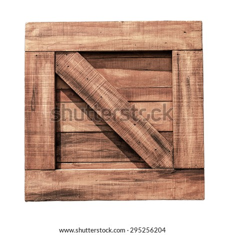 Close up of wooden box on white background. Clipping path included. - stock photo