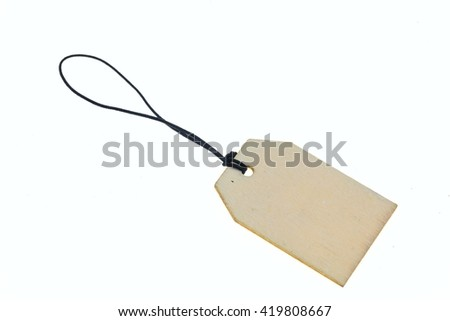 Close-up of wooden keychain on rope.White background