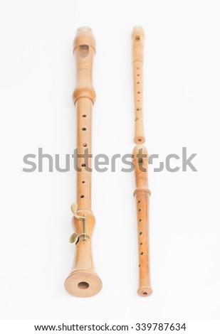 Close up of wooden recorders. Concept of playing the flute, music  and traditional instruments. - stock photo