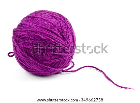close up of wool knitting on white background - stock photo