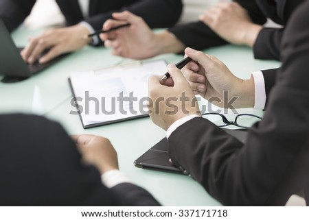 Close up of working process at business meeting,business presentation concept - stock photo