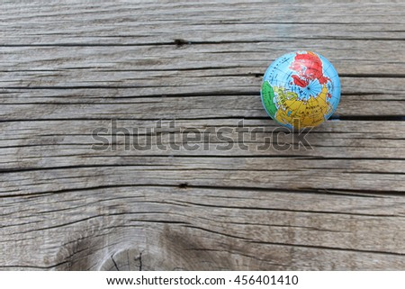 Close up of world globe - top view - travel destination and love different cultures concept - place for text - stock photo