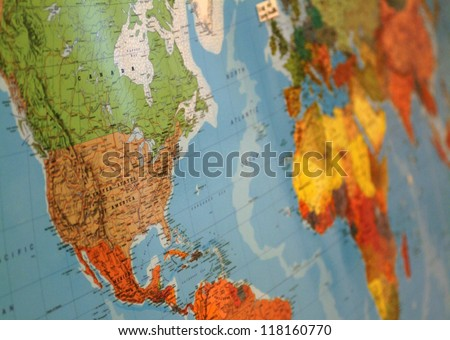 Close-up of world map - stock photo