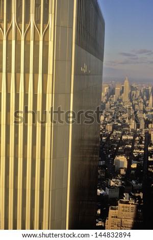 Close-up of World Trade Center, Wall Street, New York City, NY - stock photo