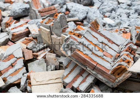Close-up of wreckage building brick wall - stock photo