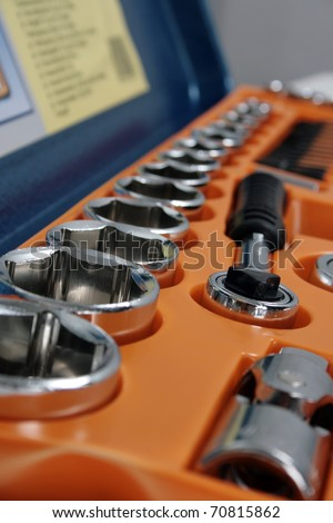 close-up of wrench tool set, shallow DOF