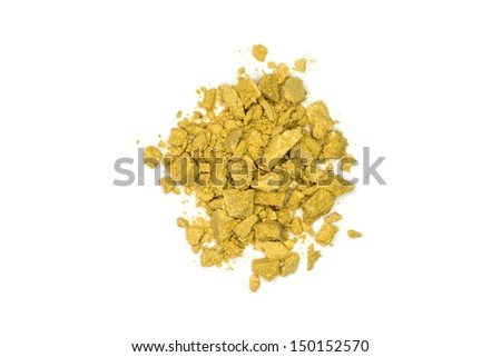 Close up of yellow make up powder and crushed eyeshadow - stock photo