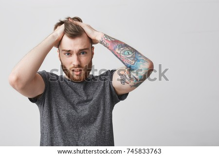 Close Young Attractive Redhaired Unhappy Man Stock Photo Royalty
