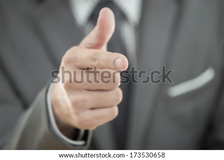 close up of young business man portrait - stock photo