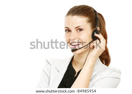 Close-up of young businesswoman with great smile wearing headset isolated on white - stock photo