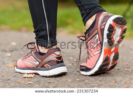 Close-up of young girl's walking shoes