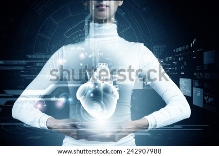 Close up of young woman body and digital images of heart - stock photo