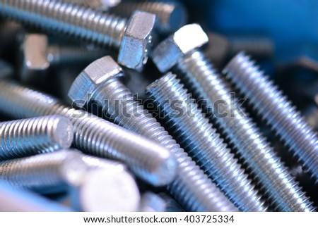 close up of zinc plated screws  - stock photo