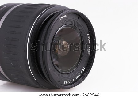 Close up of zoom lens isolated on white background