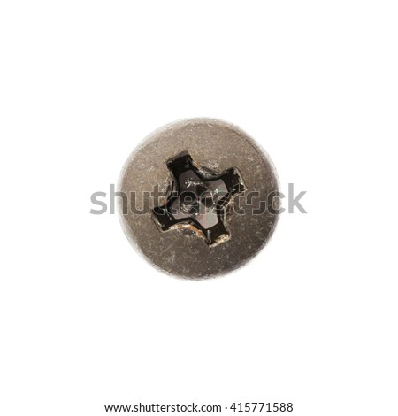 Close up old and rusty nut or screw head, include clipping path - stock photo