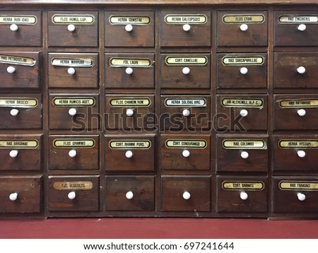 Closeup Very Old Apothecary Cabinet Stock Photo - Apothecary cabinet